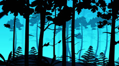 Animated illustration of coniferous forest Stock Footage