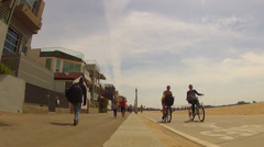 Beach Houses Bike Path Walkers Bicycle Riders- Santa Monica State Beach Stock Footage