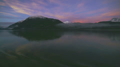 Alaskan Evening Sunset Mountains from Ferry on Calm Water of Inside Stock Footage