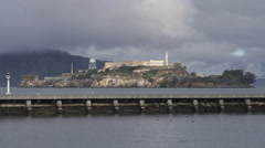 Alcatraz Island on Cloudy Day Seen from Pier 14 Stock Footage