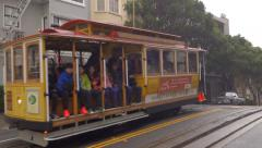 Cable Car over Foggy Hyde Street Summit Stock Footage