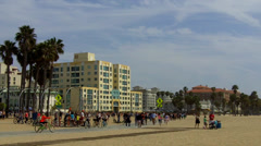 People On Santa Monica CA Beach Bike Path And Playground Stock Footage