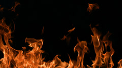 Flames burning on black background, slow motion - stock footage