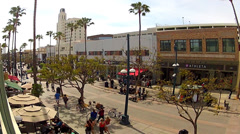 People On Santa Monica CA Third Street Promenade- High And Wide Stock Footage