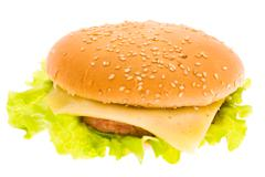 cheeseburger isolated - stock photo