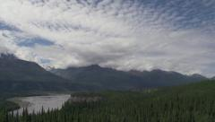 Chugach Mountains in the Clouds over Matanuska River Valley Alaska S Stock Footage
