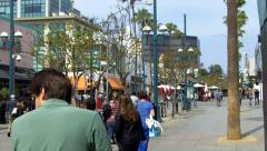 People Shoppers On Santa Monica 3rd Street Promenade Stock Footage