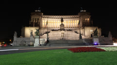 4K Rome, Italy monument Time-lapse Night Static Stock Footage