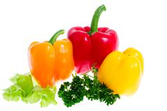 sweet peppers, isolated - stock photo