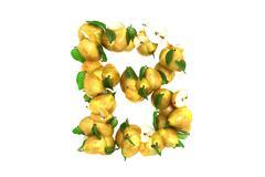 Pear letter B on white background - stock illustration