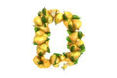Pear letter D on white background - stock illustration