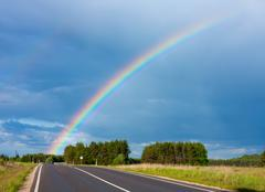 road to the rainbow - stock photo