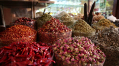 Spices on display at market in Dubai, United Arab Emirates Stock Footage