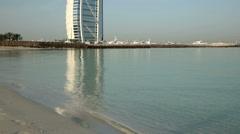DUBAI, UNITED ARAB EMIRATES - Burj al Arab Hotel and Jumeirah - stock footage