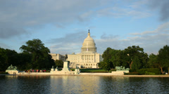 US Capitol Building reflecting in water, Washington DC - stock footage