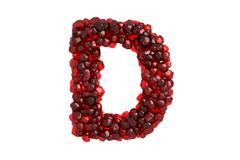 Stock Illustration of Pomegranate letter D on white background