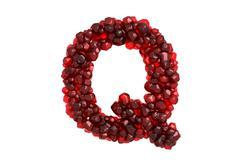 Pomegranate letter Q on white background - stock illustration