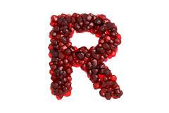 Stock Illustration of Pomegranate letter R on white background