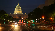 Stock Video Footage of Washington DC, United States Capitol building night view from from Pennsylvania