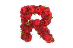 Stock Illustration of Raspberry letter R on white background