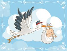 Stork with Baby Cartoon - stock illustration
