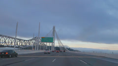Driving POV Crossing New Span Oakland San Francisco Bay Bridge Morni Stock Footage