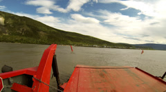 Driving POV Crossing the Yukon River on the George Black Ferry to Da Stock Footage