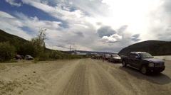 Driving POV Entering Dawson City after Crossing the Yukon River on G Stock Footage
