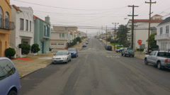 Driving POV Rear View San Francisco Mission District Foggy Neighborh - stock footage