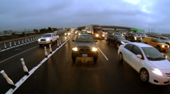 Early Morning Commute Oakland Bay Bridge Rear POV Toll Plaza Traffic Stock Footage