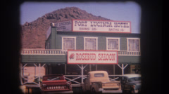 Old home movie Fort Lucinda Hotel in Nevada 1950s Stock Footage