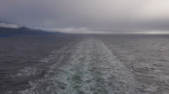 Facing Aft from Alaska Ferry Under Way in Southeast on Foggy Day Stock Footage