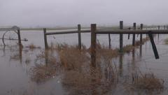 Flooded Rural Farmland Fences and Heavy Rain Pan Right Stock Footage