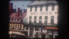 Old home movie Hotel Normandie in Quebec City 1950s Stock Footage