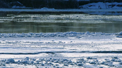 Flowing River Ice on Chilkat Steaming in Winter Stock Footage