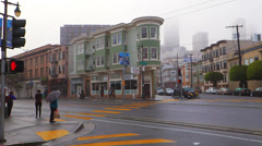 Foggy San Francisco Street Scene Pedestrians and Traffic Stock Footage