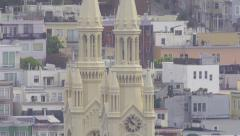 Foggy San Francisco Tilt Up Peter Paul Cathedral Stock Footage