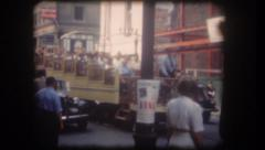 Old home movie Montreal city street 1950s Stock Footage