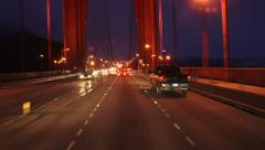 Glowing Fog Nighttime Rush Hour Golden Gate Bridge Traffic and Light Stock Footage