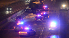 Police on closed highway in Winter 2 Stock Footage