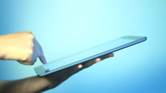 a business man is playing with iPad - stock footage