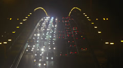 Golden Gate Bridge Foggy Arch Multilane Night Traffic Rush Hour Stock Footage