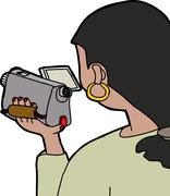 Woman using camcorder Stock Illustration