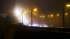 Golden Gate Bridge Traffic Timelapse Quarter View Foggy Night Stock Footage