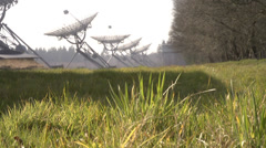 Radio telescope array the Netherlands slider shot Stock Footage