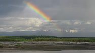 Stock Video Footage of Intense Rainclouds and Rainbow Timelapse Alaskan Scenic Copper River