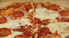 Cutting Pizza With Cutter Stock Footage