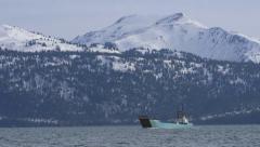 Landing Craft Ship Hauling Trucks in Alaska Stock Footage