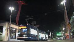 Portland Night - Electric Trolly whizzes by Stock Footage