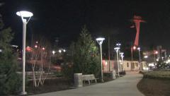 Portland Night Scene at City Park Stock Footage